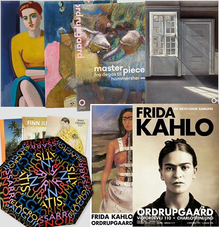 Collage af med varer fra Ordrupgaards butik og webshop