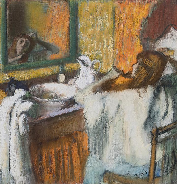 Oplev Ordrupgaard. Edgar Degas. Ved toilettet. Kvinde, der reder sit hår