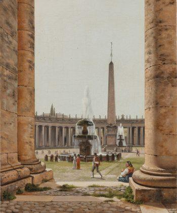C.W. Eckersberg. Parti af kolonnaden, som omgiver Peterspladsen i Rom. (1813-16). Inv.nr. 139 WH. Fotograf Anders Sune Berg