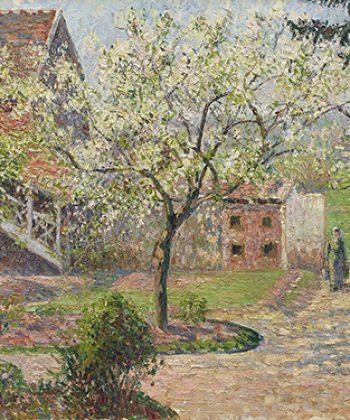 Camille Pissarro. Blomstrende blommetræer, Éragny. Kunstnerens hjem. 1894. Fotograf Anders Sune Berg. Ordrupgaards franske samling.