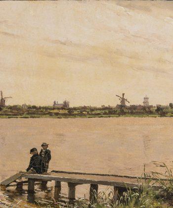 Christen Købke. Parti af Dosseringen med to drenge på en bro. Studie. ca. 1837. Inv.nr. 83 WH. Fotograf Anders Sune Berg