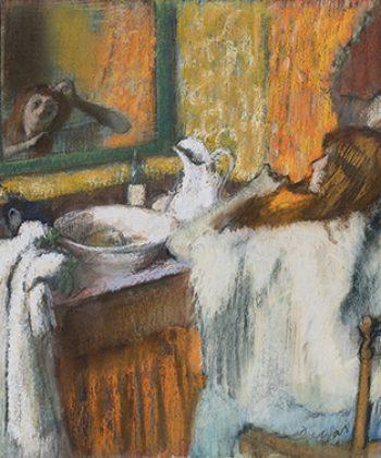 Edgar Degas. Ved toilettet. Kvinde, der reder sit hår. Cirka 1895-1900. Fotograf Anders Sune Berg. Ordrupgaards franske samling