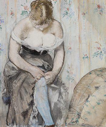 Édouard Manet. Strømpebåndet eller »Ved toilettet«. 1878-79. Fotograf Anders Sune Berg. Ordrupgaards franske samling.