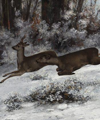 Gustave Courbet. Vildsporet, jagtscene med rådyr, (Franche-Comté, 1866). 1866 Shuffle575px. Fotograf Anders Sune Berg