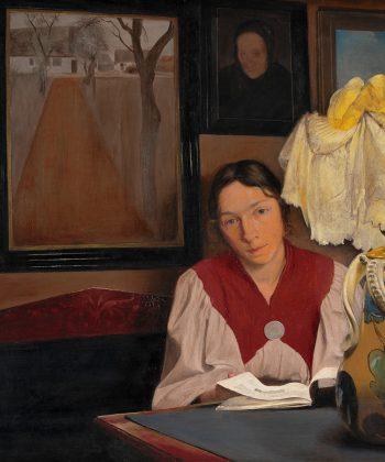 L.A. Ring, Lampelys. Interiør med kunstnerens hustru, 1898