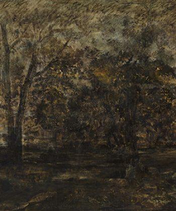 Théodore Rousseau. Solnedgang i skoven. 1847. Fotograf Anders Sune Berg. Ordrupgaards franske samling.