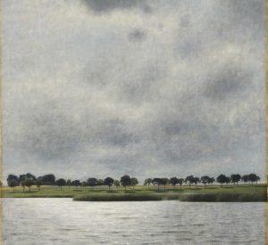 Nyt Hammershøi maleri på Ordrupgaard. Vilhelm Hammershøi. Fra Gentofte Sø. ''Solregn''. (1903). Fotograf Anders Sune Berg.