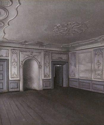 Vilhelm Hammershøi. Interiør fra den store sal i Lindegården. (1909). 318x375. Fotograf Anders Sune Berg