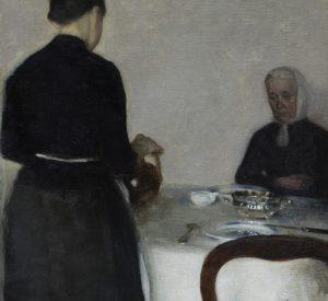 Vilhelm Hammershøi. Interiør med kunstnerens moder og søster. (1884). Deponeret af Augustinus Fonden. Ordrupgaard. Fotograf Anders Sune Berg