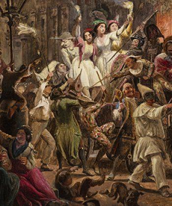 Wilhelm Marstrand, Moccoli-aftenen på Corsoen i Rom. Cirka 1848. Fotograf Anders Sune Berg. Ordrupgaards danske samling.